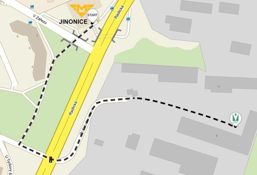 Mapa Vašut (trasa od metra Jinonice)